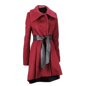 Steve Madden Red Envelope Collar Belted Coat M